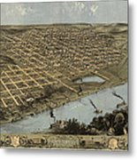 Antique Map Of Omaha Nebraska By A. Ruger - 1868 Metal Print by Blue Monocle