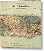 Antique Map Of Puerto Rico - 1886 Metal Print