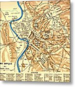 Antique Map Of Rome During Antiquity 1870 Metal Print
