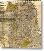 Antique Map Of San Francisco 1932 Metal Print