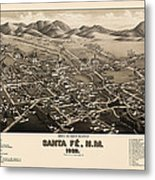 Antique Map Of Santa Fe New Mexico By H. Wellge - 1882 Metal Print by Blue Monocle