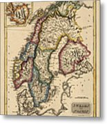 Antique Map Of Scandinavia By Fielding Lucas - Circa 1817 Metal Print by Blue Monocle