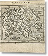 Antique Map Of Scotland By Abraham Ortelius - 1603 Metal Print by Blue Monocle