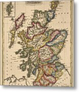 Antique Map Of Scotland By Fielding Lucas - Circa 1817 Metal Print