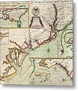 Antique Map Of South Carolina By Edward Crisp - Circa 1711 Metal Print