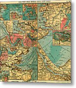 Antique Map Of The Baltic And North Sea Ports  Metal Print