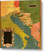 Antique Map Of The Dalmatian Shore 1578 Metal Print