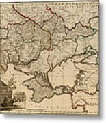 Antique Map Of The Russian Empire In Russian 1800 Metal Print