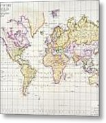 Antique Map Of The World Metal Print by James The Elder Wyld