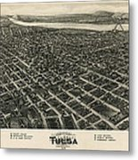 Antique Map Of Tulsa Oklahoma By Fowler And Kelly - 1918 Metal Print by Blue Monocle