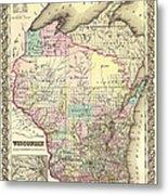 Antique Map Of Wisconsin 1855 Metal Print