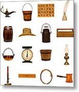 Antique Objects Collection Metal Print