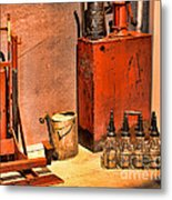 Antique Oil Bottles Metal Print