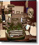Antique Oliver Typewriter On Old West Physician Desk Metal Print by Janice Rae Pariza