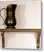 Antique Pewter Pitcher On Old Wood Shelf Metal Print