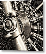 Antique Plane Engine Metal Print