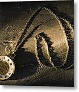 Antique Pocket Watch On Chain Metal Print