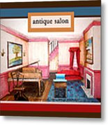 Antique Salon - Colonial Red And Blue Metal Print