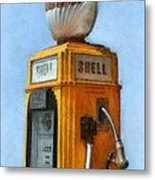 Antique Shell Gas Pump Metal Print