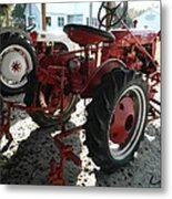 Antique Tractor Hiding In The Shadows Metal Print