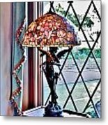 Antique Victorian Lamp At The Boardwalk Plaza - Rehoboth Beach Delaware Metal Print
