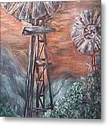 Antique Windmills At Dusk Metal Print