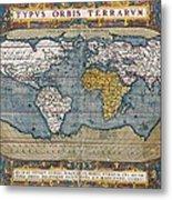 Antique World Map Circa 1570 Metal Print