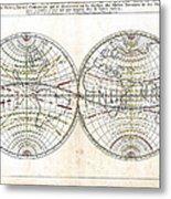 Antique World Map Harmonie Ou Correspondance Du Globe 1659 Metal Print