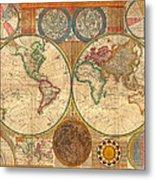 Antique World Map In Hemispheres 1794 Metal Print