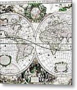 Antique World Map Poster Metal Print