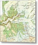 Antique Yosemite National Park Map Metal Print