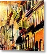 Antiqued Photograph Of Townhouses Metal Print