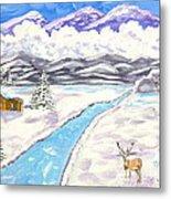 Antlers And Snow Metal Print
