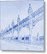 Antwerp Railway Bridge Blueprint Metal Print
