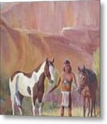 Apache Brave Waiting For The Lookout Metal Print