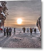 Apostle Islands Ice Cave Sunset Metal Print
