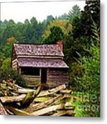Appalachian Cabin With Fence Metal Print