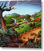 Appalachian Fall Thanksgiving Wheat Field Harvest Farm Landscape Painting - Rural Americana - Autumn Metal Print