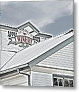 Apple Barn Winery Sign In Grayscale Metal Print