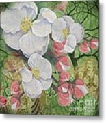 Apple Blossom Collage Metal Print