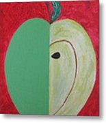 Apple In Two Greens 02 Metal Print