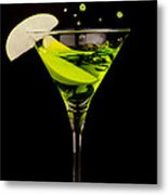 Apple Martini Splash Metal Print