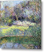 Apple Tree And Crescent Moon Metal Print