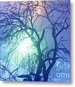 Apple Tree In Winter Fog Metal Print