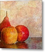 Apples And A Pear Metal Print