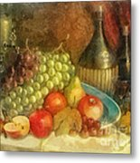 Apples And Grapes Metal Print