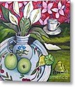 Apples And Lilies Metal Print