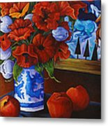 Apples And Poppies Metal Print