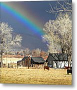 Approaching Storm At Cattle Ranch Metal Print