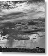 Approaching Storm Black And White Metal Print